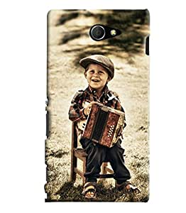 Blue Throat Boy Playing Violin Hard Plastic Printed Back Cover/Case For Sony Xperia M2