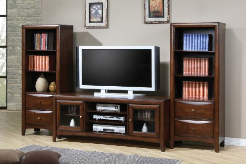 Inland Empire Furniture Marsala Walnut Solid Wood Flat Panel TV Stand with Media Towers