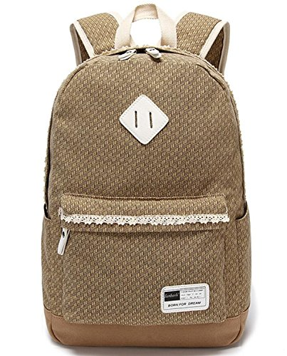 YiSherry Canvas Laptop Bag Shoulder Daypack School Backpack Causal Handbag 9Khaki