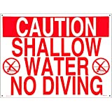 Poolmaster 40341 Shallow Water No Diving Sign for Residential or Commercial Pools