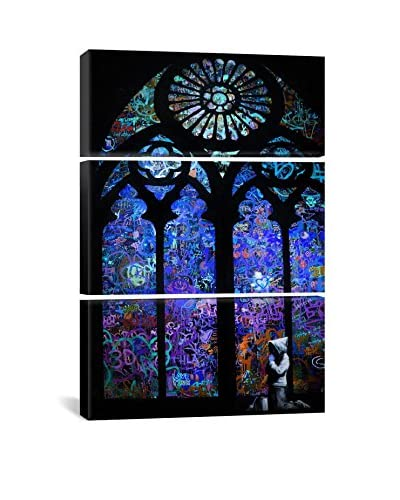 Banksy Stained Glass Window II Gallery Wrapped Canvas Print, Triptych
