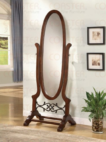 Cheval Freestanding Floor Mirror in Walnut wood finish