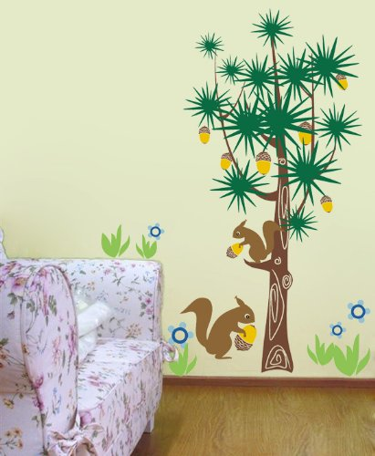 Pop Decors Removable Vinyl Art Wall Decals Mural for Nursery Room, Squirrels and Pine Trees