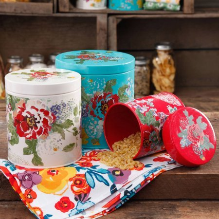 The Pioneer Woman Country Garden 3-Piece Canister Set, Multi-Color
