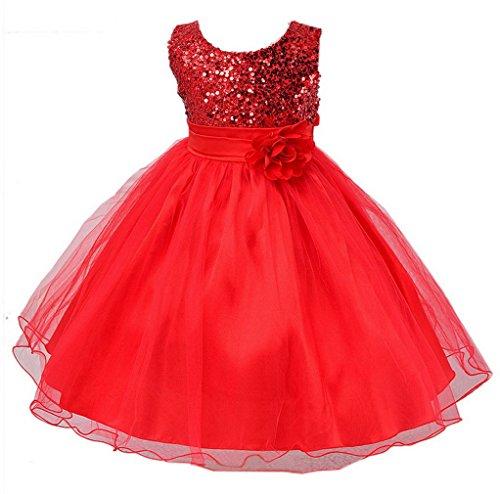 La Vogue-Vestito Bambina Abito Paillettes Principessa Estate Fiore Festa Ballo (Petto: 66cm, Rosso)