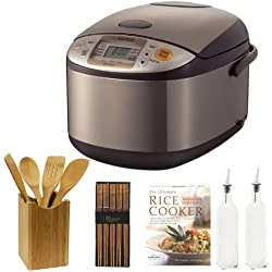 Zojirushi NSTSC10XA Micom 5.5 Cup Rice Cooker/Warmer + Ultimate Rice Cooker Cookbook + Tool Set 5 Piece Bamboo Finish (Fork, Spoon, Spatula) + Helens Asian Kitchen Silk Wrapped Chopsticks (5 Pairs) + 2 Bottle Glass Finish Tall Oil and Vinegar
