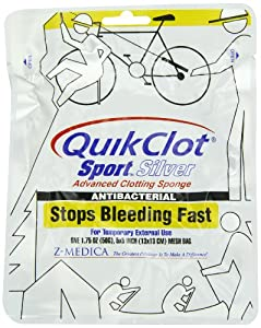 Quikclot Sport Silver Brand Hemostatic Agent, one 1.75 oz. (50 G) 5x5 inch mesh bag, Package by Quikclot