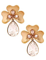 The Jewelbox Antique 18k Gold Plated Crystal Large Flower Earring For Women