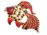 レアゴージャスルビーエポキシエナメルルビークリスタルラインストーンゴールデン金魚ピンブローチ