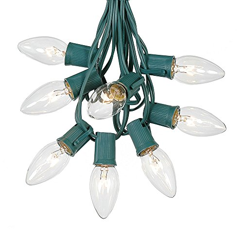 25 Foot C9 Outdoor Lighting Patio Christmas String Lights, Clear, Green Wire, 25 Bulbs (Christmas Lights Clear Green Wire compare prices)