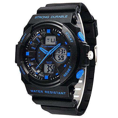 Mens Boys Sports Fashion Student Two Time Zone Analog Digital Wristwatches (Black + Blue)