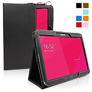 Snugg Galaxy Tab 3 10.1 Case - Smart Cover with Flip Stand & Lifetime Guarantee (Black Leather) for Samsung Galaxy Tab 3 10.1