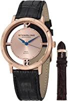 Stuhrling Original Men's 388G2.SET.03 Winchester Cathedral 16k Rose Gold-Plated Stainless Steel Watch with Additional Leather Strap by Stuhrling Original