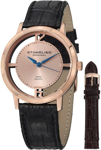 Stuhrling Original Stuhrling Original Men's 388G2.SET.03 Winchester Cathedral 16k Rose Gold-Plated Stainless Steel Watch with Additional Leather Strap