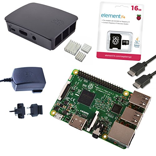 Raspberry Pi 3 Official Starter Kit Black, with Official Charger, Official Case, Official 16GB microSD with NOOBS, HDMI and Heatsink set