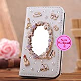 Wellpad Classic design bling leather stand Case Cover For Samsung Galaxy Tab 4 8.0 SM-T330 T331 T335(Makeup mirror)