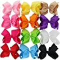 12Pcs 6 Inch Large Hair Bows For Girls 8 inch Grosgrain Ribbon Boutique Rainbow Big Bows Alligator Clips For Teens Toddlers Children Kids