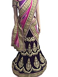 Suchi Fashion Purple Heavy Embroidered Velvet Semistitched Party Wear Lehenga Choli