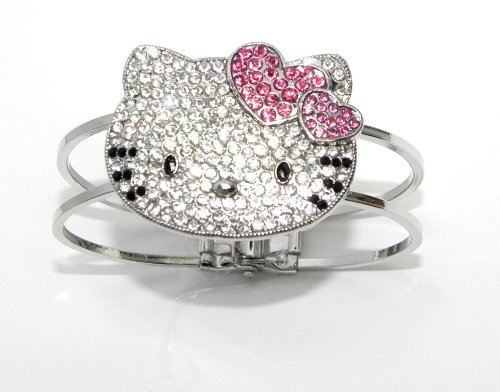 Adorable Hello Kitty Bangle Bracelet Pink Double Heart