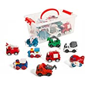 Set Of 9 Friction Powered Train Air Construction Fire Die Cast Vehicles In A Storage Container.