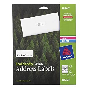 Avery EcoFriendly White Address Labels, 1 x 2.5.625 Inches, 750 Labels (48260)