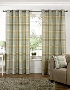 "Green Paisley Scottish Lined Ring Top Tartan Plaid Checked Curtains 46"" X 90"" from PCJ Supplies"