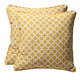 Pillow Perfect Decorative Yellow/White Geometric Square Toss Pillows, 2-Pack