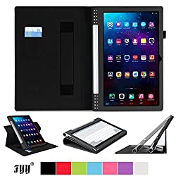 FYY FYY-922-LV-YOGA-Pro-13-BK Lenovo Yoga Tablet Case Cover PU Leather Case Stand Cover with Velcro Hand Strap and Card Slots for Lenovo Yoga Tablet 2 Pro 13.3 Black (With Auto Wake/Sleep Feature)