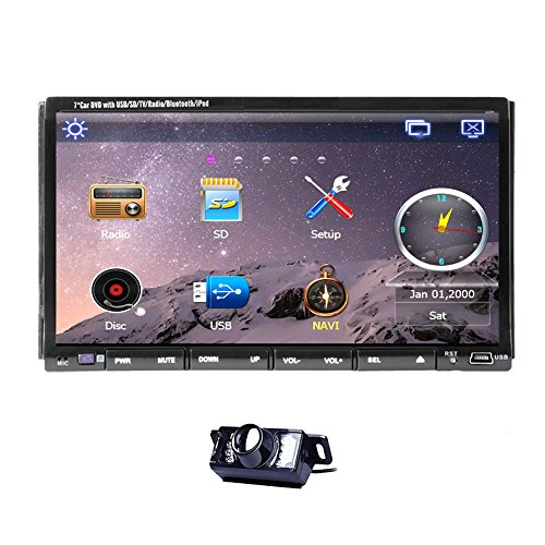 Free Rear Camera 2015 New Model 7-Inch Car DVD Player GPS Navi SAT with DVD/CD/MP3/MP4/USB/SD/AM/FM/RDS TV Radio/Hands Free BT/car Stereo/Audio NAV HD:800*480 LCD+Win6 UI Design+ Free GPS Map Card