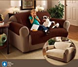 "2 Seater Sofa Protector Chocolate Brown 46"" x 70.5"" Water Resistant Quilted"