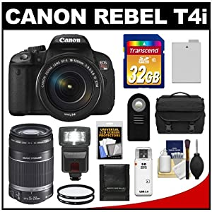Canon EOS Rebel T4i Digital SLR Camera Body & EF-S 18-135mm IS STM Lens with 55-250mm IS Lens + 32GB Card + Flash + Battery + Case + Filters + Accessory Kit
