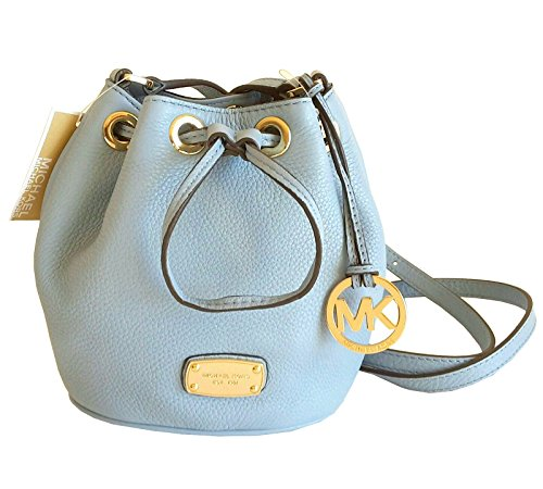 NWT Michael Kors MK Signature Small Leather Drawstring Bag Purse Light Blue (Michael Kors Light Blue Bag compare prices)