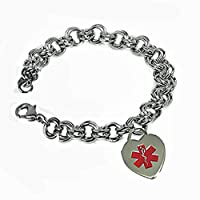 Medical Alert Womens Heart Medical ID Bracelet Stainless Links- FREE ENGRAVING by Creative Medical ID