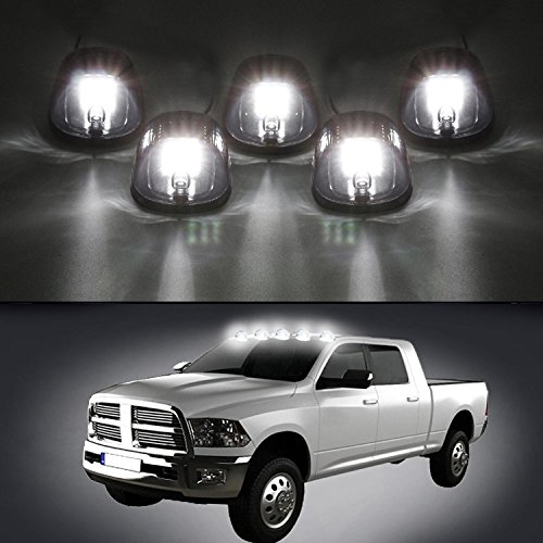 Carrep 5x Smoked Cab Roof Top Marker Running Lamps Clearance Light Lamp with 9 LED Bulb for 2003-2012 Dodge Ram 1500 2500 3500 4500 5500 (5 Smoked Marker) (Cab Top Light Mount compare prices)