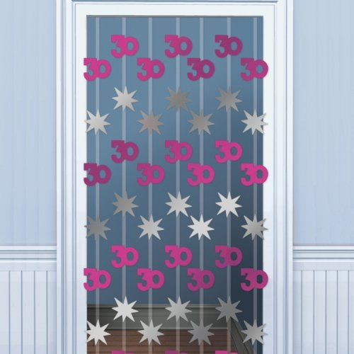 30th Birthday Door Danglers Decoration - Shimmering Pink