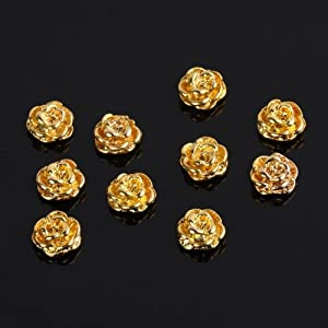 10 PCS Golden Alloy 3D Rose Flower Design For Nail Art Cellphone Decoration
