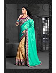 AG Lifestyle Sea Green & Beige Chiffon Saree With Unstitched Blouse ASL601