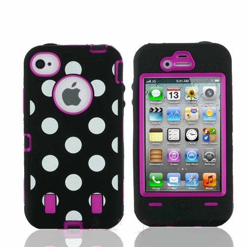 Polka Dot & Hot Pink Defender Body Armor High Impact Extreme Duty Hybrid Case Cover For Iphone 4/4S With Built-In Screen Protector