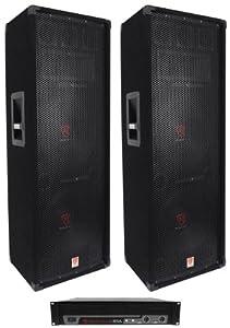 "Package: (2) Rockville RSG-12.2 Dual 12"" Three-Way 4-Ohm Carpeted Passive Loudspeakers Totaling 4000 Watt Peak/2000 Watt RMS + Rockville RPA8 3000W Peak/1500W RMS 2-Channel DJ Power Amplifier"