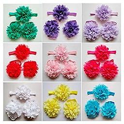 10x Fashion Girl Baby Headband Foot Flower Elastic Hairwrap Accessories Headwear