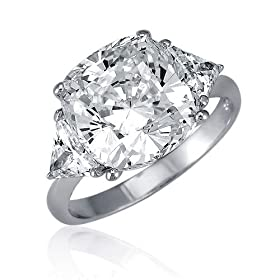 Sterling Silver Ring 3-Stone Cushion Cut Cubic Zirconia CZ Engagement Ring | 99rings.com