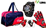 V-Luma Combo of Red Travel Bag with Bikers Gloves & Sports Digital Watch VLCOM1010