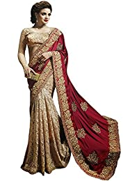 Pramukh Enterprise Women'S Silk Georgette Saree With Blouse Piece (Is-Saree299-1579_Red)