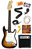 Squier by Fender Mini Strat Electric Guitar Bundle with 10-Watt Guitar Amp, Instrument Cable, Strings, Tuner, Strap, Stringwinder, Picks, Instructional DVD, and Polishing Cloth - Sunburst