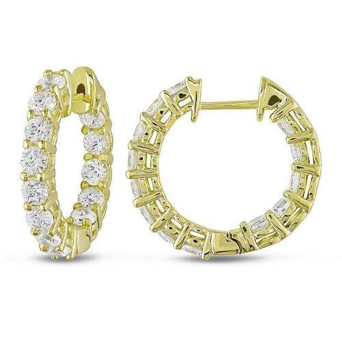 Sterling Silver 3 7/8 CT TGW White Cubic Zirconia Stud Earrings