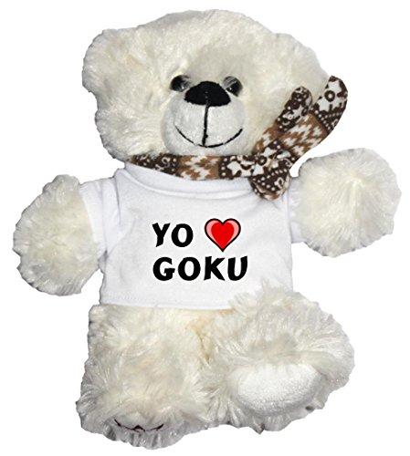 Oso-blanco-de-peluche-con-Amo-Goku-en-la-camiseta-nombre-de-pilaapellidoapodo
