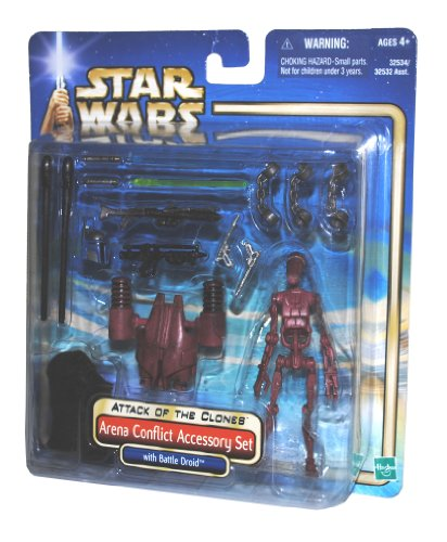 "Buy Low Price Hasbro Star Wars Year 2002 Movie Series Episode 2 ""Attack of the Clones"" Action Figure Accessory Set – Arena Conflict Accessory Set with Battle Droid, Jedi Cloak, Clone Trooper Rifle, Backpack Launcher, 2 Projectiles, Jango Fett Helmet, Jango Fett Blaster, Blue Lightsaber, Green Lightsaber and 3 Handcuffs (B003OLEUYY)"