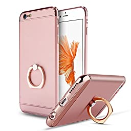 iPhone 6 Plus Case,Inspirationc® 3 in 1 Luxury Ultra Thin Hard Protective Case with 360 Degree Rotating Ring Kickstand for iPhone 6 Plus/iPhone 6S Plus 5.5 Inch--Rose Gold