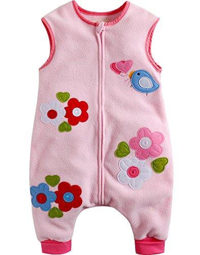 Vaenait Baby Toddler Kids Girls Boys Micro Fleece Wearable Blanket Pink Flower S