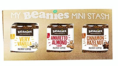 Flavoured Instant coffee trio - Vanilla Amaretto Cinnamon - 3x50g mini jars - Beanies by Caramba